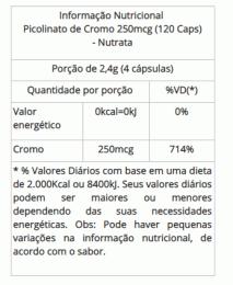 Picolinato de Cromo 250mcg (120 caps)